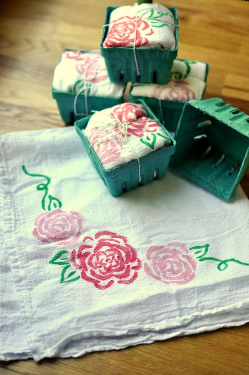 DIY Painted & Stenciled Tea Towels