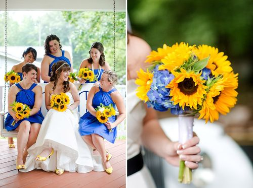 Blue with sunflower