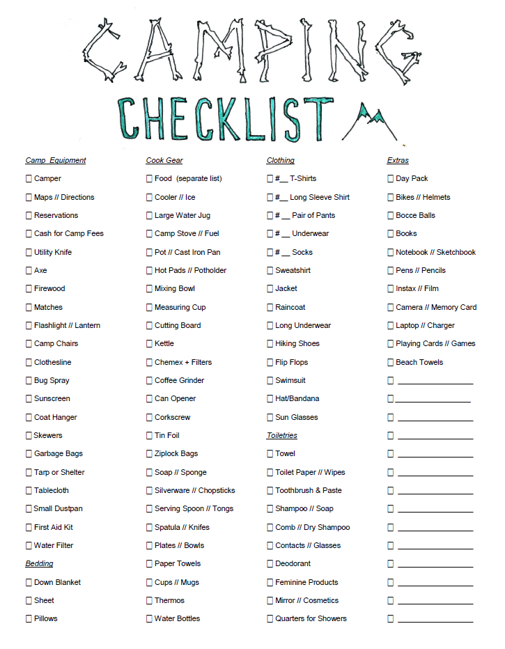 checklist for camping leona lane